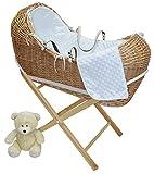 Blanco Dimple–mimbre natural moses cestas/Pod con colchón