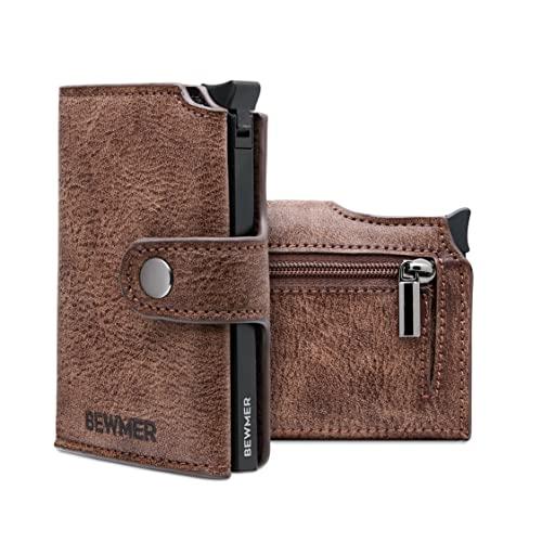 BEWMER II Porta Tarjetas de Crédito y Cartera - Porta Tarjetas, Dinero y Monedas con Protección RFID - Diseño Italiano Elegante - Accesorios de Piel Sintética para Hombres y Mujeres - 10x7x2.5 cm