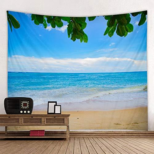 WERT Sunny Green Tree Beach Tapiz de Pared Colgante de Pared Tapiz Bohemio Mandala Pared Art Deco Tela de Fondo A3 150x200cm