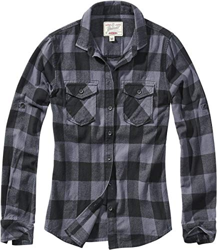 Brandit Amy Flanell Checkshirt Frauen Flanellhemd schwarz/grau XXL 100% Baumwolle Basics, Rockwear