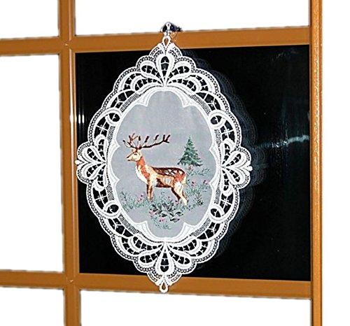 Zauberhaftes Fensterbild Plauener Spitze Weiß Jagdmotiv Stickerei Hirsch 29x39 cm + Saugnapf/Made IN Germany