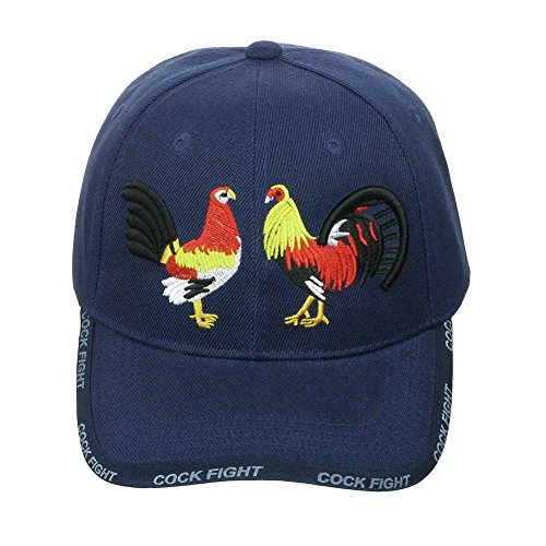 DivaDesigns Unisex Embroidered Rooster Cock Fight Velcroback Cap Hat Navy