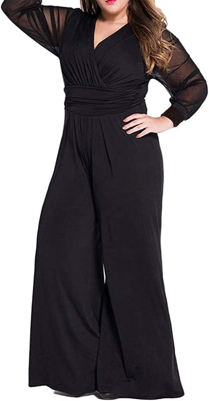 RED DOT BOUTIQUE 701 - Jumpsuit Plus Size Mesh Long Sleeves V Neck Wide Pants
