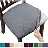 Fuloon 4 6 Pack Stretch Jacquard Chair Seat Covers,Removable Washable Anti-Dust Dinning Room Chair Seat Cushion Slipcovers (4, Light Grey)