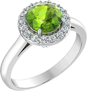 Womens 925 Sterling Silver Classic Halo Solitaire Gemstone Ring