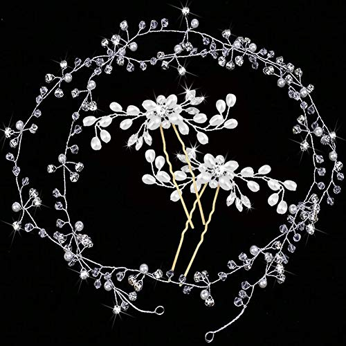 Brautschmuck Hochzeit Stirnband 3 Stück Kristall Ranke Kopfschmuck Silber Perle Haarband Vintage Stil für Frauen Mädchen auf Hochzeit Party oder Casual