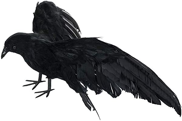 LLY Halloween Fake Crow Prop Spooky Black Feathered Raven Black Bird Toys Crows Decor Outdoor Home Spread Wings