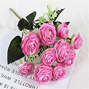 Silk Flower Arrangements Artificial and Dried Flower Simulation Camellia Rose Table Decoration Silk Flower Arrangement Bouquet Decoration Home Wedding Decoration - ( Color: Rose Red )