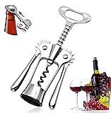 Multifunktions Winged Korkenzieher, Verchromt Kaspelheber für Weinflaschen, Flaschenöffner für Wein, Prosecco & Bier - Besondere Geschenkidee - Wein Geschenk