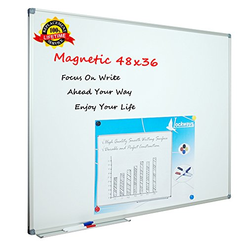 Lockways White Board Dry Erase Board 48 x 36 - Magnetic Whiteboard -