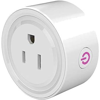 Wifi Smart Plug, Enchufe Inteligente Mini Outlets, Toma de Corriente Inalámbrica Compatible con Amazon Alexa, Google Home y IFTTT,Control Remoto via APP los Dispositivos Eléctricos
