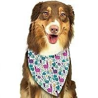 ラマとサボテン ペットバンダナ 犬用 猫用 アクセサリー 三角スカーフ よだれカバー バンダナ 取り付け簡単 水洗い可 柔らかくかわいい 食事用