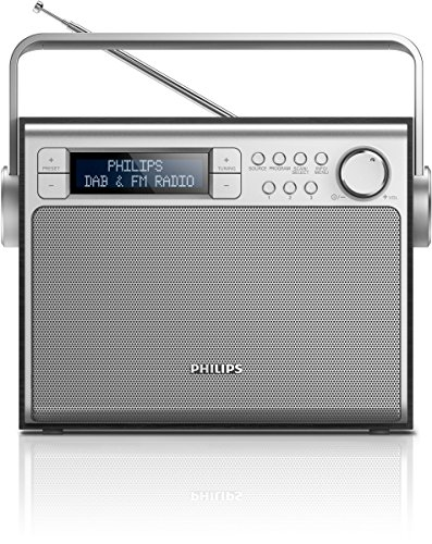 Philips AE5020B tragbares Radio (mit DAB+, Digital UKW, Akku oder Netzbetrieb, Programmspeicher) schwarz/silber