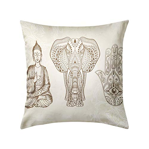 All Seeing Eye Elephant and Sitting Buddha Decorative Throw Pillow Covers Luxury Pillow Case for Sofa Home Couch Car Bedroom Decor Invisible Zipper Square 18 X 18inch