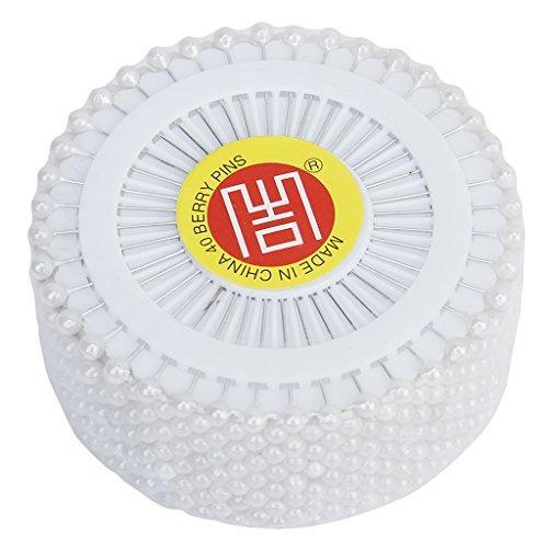 nabati Lot de 480 épingles à tête ronde en fausses perles pour couture, artisanat, décoration de mariage - Noir (blanc)