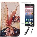 Lankashi Wing Girl 3in1 Set PU Flip Leder Tasche Für Alcatel One Touch Pixi 4 6