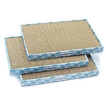 VIVAGLORY Carton à Gratter pour Chat, Griffoirs pour Chats, Chat Planche Carton Ondulé Jouets à l'herbe à Chat avec Boîte, Large, 3 Pièces