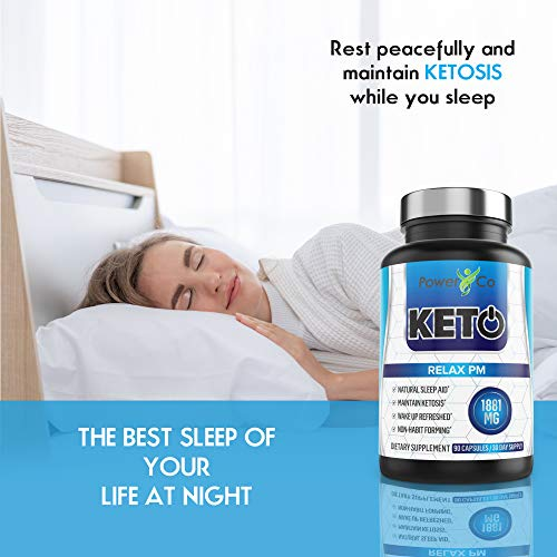 PowerCo Relax PM Deep Sleep Formula - Adult Sleep Aid & Keto Diet Pills in One - Promotes Deep REM Sleeping While Promoting Nighttime Ketosis - 90 Capsules 6