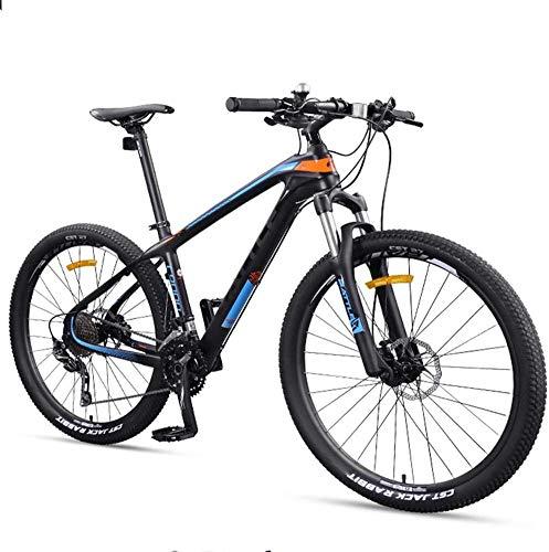 Aoyo 27,5 Zoll Erwachsene Mountain Bikes, Ultra-Light Carbon Fiber-Rahmen Mountain Trail Fahrrad, Doppelscheibenbremse Männer Frauen Hardtail Berg Fahrrad,