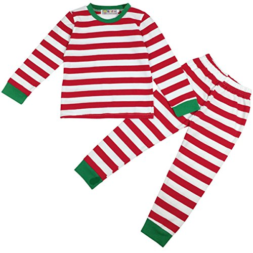 Jastore Baby Boys Girls Striped T-Shirt and Pants Sleepwear Christmas Pajamas Sets (3-4 Years, Red)