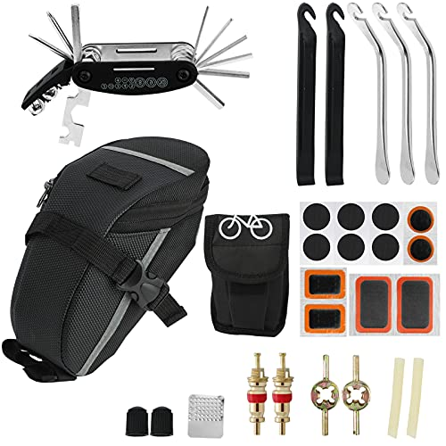 ProChosen Fahrrad Multitools 16 in 1 Fahrrad Reparaturset mit Satteltasche Flickzeug Fahrrad Fahrradreparatur-Werkzeugsatz Reifenreparaturschlüsselsatz für Mountainbikes und Rennräder