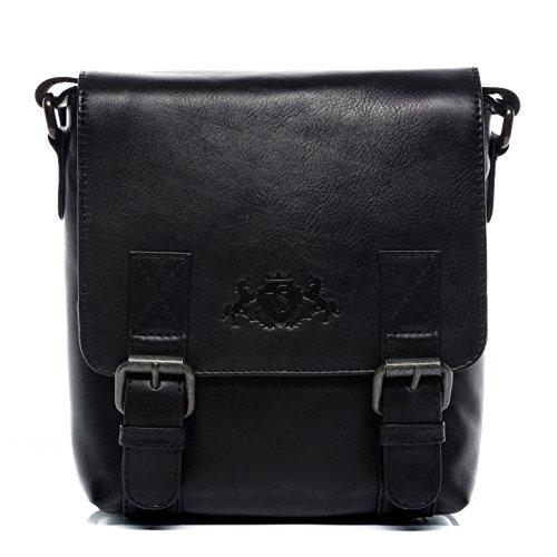SID & VAIN Messenger Bag KERBY Small Shoulder Courier Bag Real Leather ipad inch Laptop Cross-Body Bag Vertical Leather Bag Women Men Black