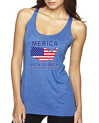 Merica Back to Back World War Champs Funny USA | Womens American Pride Premium Tri-Blend Racerback Tank Top, Vintage Royal, Large