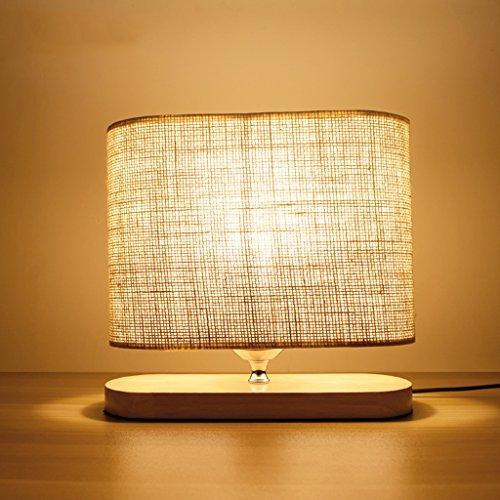 Petite lampe de bureau en bois massif simple, lumière de nuit chaude abat-jour en lin, lampe de bureau économie d'énergie de chevet de chambre à coucher