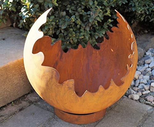 Edelrost Risskugel auf Standring D30cm, inkl. Herz 8x6cm Gartendeko Feuerkugel Pflanzschale Beleuchtung