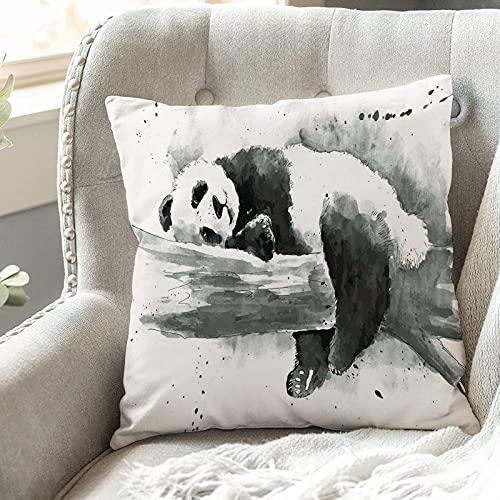 Fundas de Cojines 45x45 cm Funda de Almohada para Decoracion Sofá,Panda, Panda Acostado en una rama de árbo,Poliéster Moderna con Cremallera Invisible Funda de Cojin Decorativa para Cama Hogar, Coche