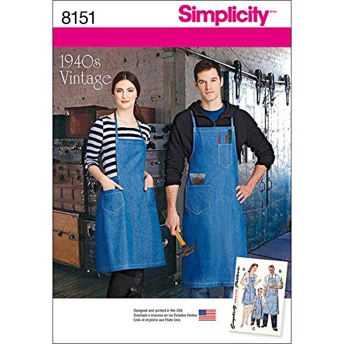 Simplicity Schnittmuster 8151für Vintage-Schürzen, geeignet für Jungen/Mädchen/Damen und Herren, Weiß