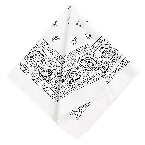Bandana Handkerchief - Large/Jumbo Paisley Cowboy Bandana for Men & Women - Head & Face Wrap Scarf - 1 Pack White
