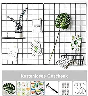 schwarz H40cm x B88cm meindekoartikel Gitter-Pinnwand Memoboard Klemmbrett aus Metall