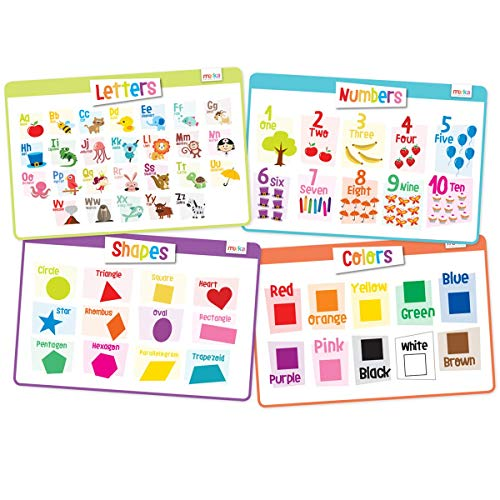 merka Kids Placemats Educational Placemat Non Slip Reusable Plastic Toddlers Set Letters Colors Shapes Numbers