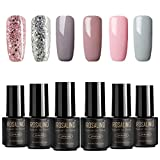 ROSALIND Esmaltes Semipermanentes de Uñas en Gel UV LED, 6pcs Kit de Esmaltes de Uñas de Brillo Glitter 7ml