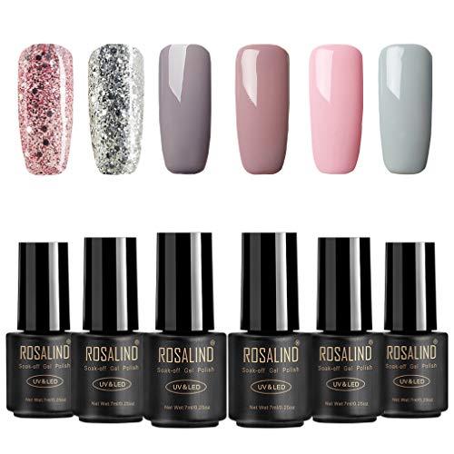ROSALIND Gel Nagellack, Splitter Set, 4 Nude und 2 Glitter, UV & LED Soak Off Nude Color Langanhaltender Maniküre-Lack (muss Decklack und Grundlack auftragen) (set 7)