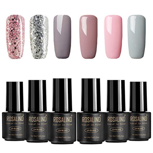 ROSALIND Gel Nagellack, Splitter Set, 4 Nude und 2 Glitter, UV & LED Soak Off Nude Color...