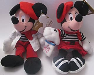 Disney Bean Bag Plush Mickey Mouse and Minnie Mouse Globe Trotting France French