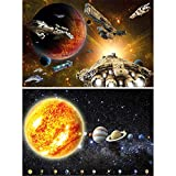 GREAT ART 2er Set XXL Poster Kinderzimmer – Weltraummission Spaceshuttles und Sonnensystem Wandbild Dekoration Universum Astronauten Planeten Jungen Mädchen Jugendbild (140 x 100cm)
