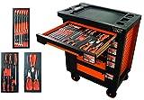 FISCHER DAREX Servante Equipée de 22 Outils avec 3 Modules Orange/Noire