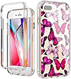 YiYiYaYa for iPhone 7 Plus 8 Plus Case with Built in Screen Protector, Clear Floral Pattern for Girls Women, Full Body Shockproof Case for for iPhone 6 Plus/6s Plus/7 Plus/8 Plus Pink Butterfly