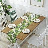 Camino de mesa de Gwell, lavable, de algodón, color verde, verde, 32×180 cm