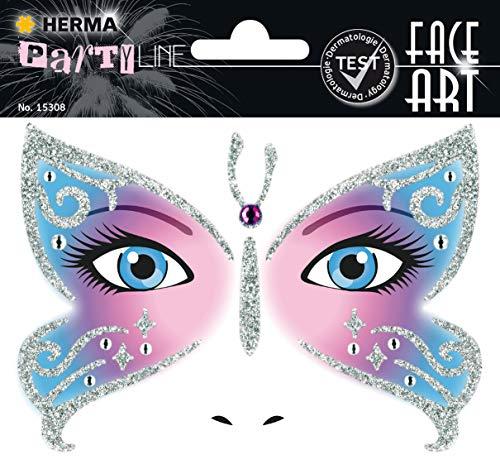 HERMA 15308 Face Art Sticker Butterfly Gesicht Aufkleber Glitzer Sticker für Fasching, Karneval, Halloween, dermatologisch getestet