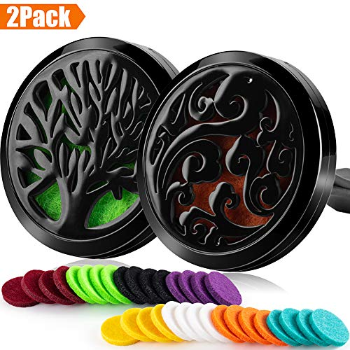 2PCS 30mm Car Essential Oils Diffuser Stainless Steel Car Aromatherapy Diffuser Vent Clip+32pcs Refill Pads (Tree of life&Cloud&Black)
