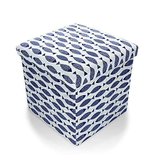 Macallen Sitzwürfel mit Deckel, Faltbar Sitzhocker mit Stauraum, Deckel abnehmbar Fußhocker Aufbewahrungsbox (Blau)