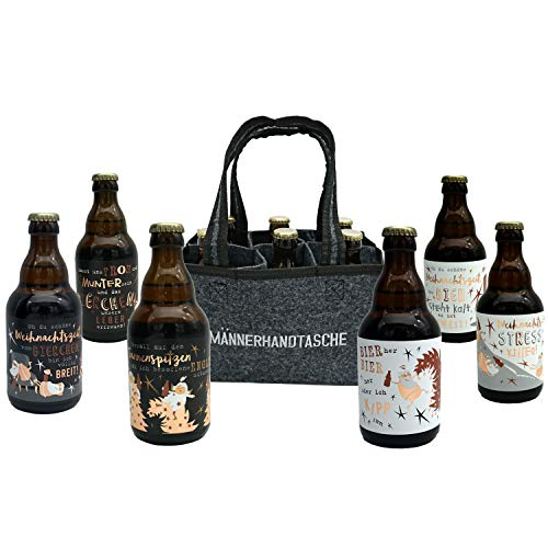 Jack's Weihnachtsbier Männerhandtasche/gefüllt mit 6 Bierflaschen 0,33l Weihnachten/Bier Weihnachten/witzige Sprüche zum Fest/Sixpack/für echte Männer/Weihnachtsbier