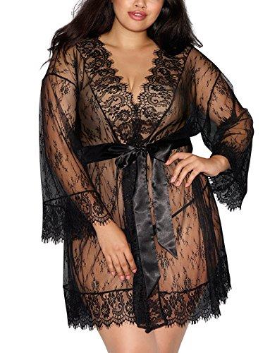 Dreamgirl Women's Plus Size Lace Kimono Robe, Black, 2X