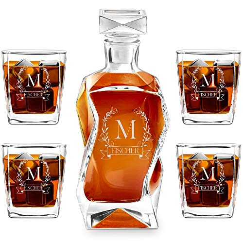 Murrano Whiskey Karaffe + 4er Whiskygläser Set mit Gravur - 700ml Whisky Dekanter - Geschenk zum Geburtstag für Damen - Monogramm 1