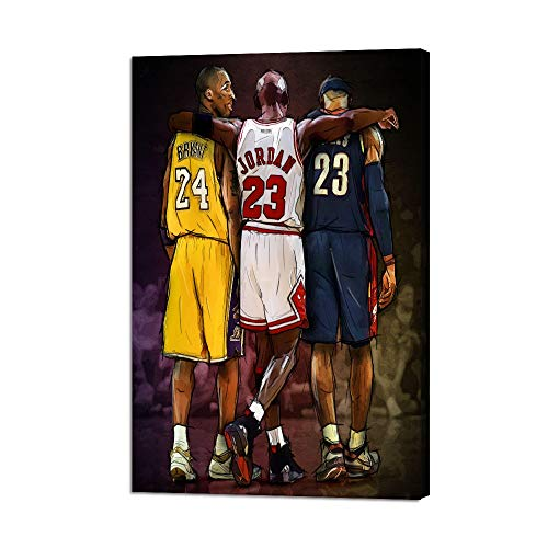 NBA Legends Michael Jordan & Kobe Bryant & Lebron James Posters Prints on Canvas Basketball Fan Memorabilia Gifts Stretched and Framed Modern Home Decoration Boy Girl Bedroom(24''W x 36''H)