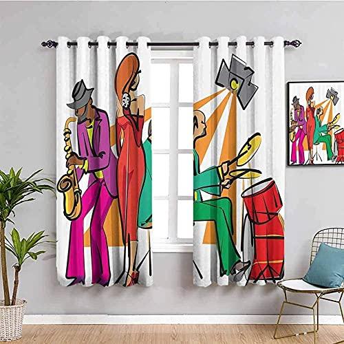 LTHCELE Opacas Cortinas Dormitorio - Color dibujos animados personaje música - Impresión 3D Aislantes de Frío y Calor 90% Opacas Cortinas - 220 x 215 cm - Salon Cocina Habitacion Niño Moderna Decorati